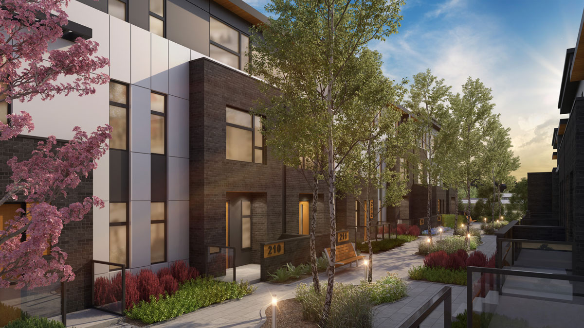 Wilshire at West District - Townhomes - Exteriors - Courtyard