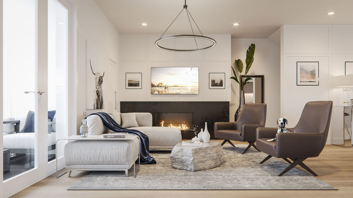 Wilshire at West District - Townhomes - Interiors - Living Space